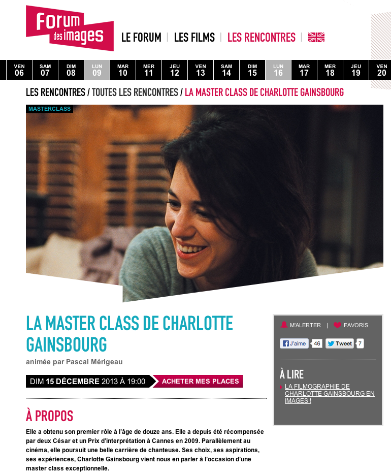 Master Class Charlotte Gainsbourg