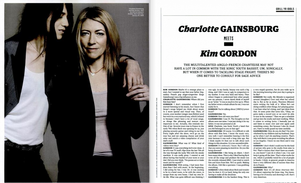 Charlotte Gainsbourg and Kim Gordon, Spin Magazine (April 2010)