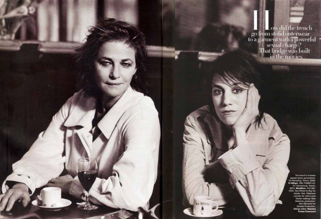 Charlotte Rampling and Charlotte Gainsbourg wearing the iconic Trench. by Peter Lindbergh (Harper's Bazaar)