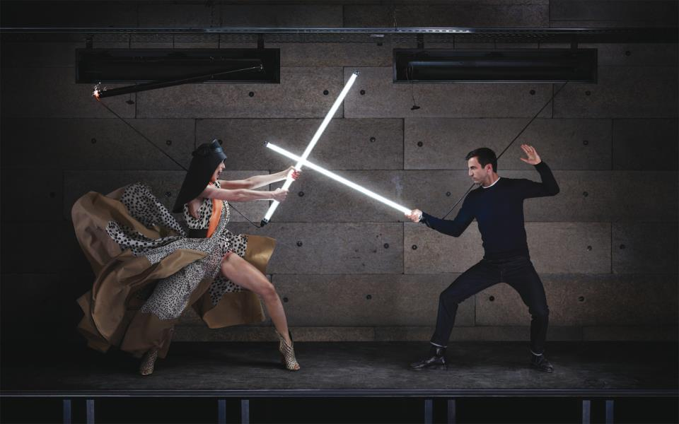 Nicolas Ghesquiere and Charlotte Gainsbourg in Balenciaga by Jean-Paul Goude