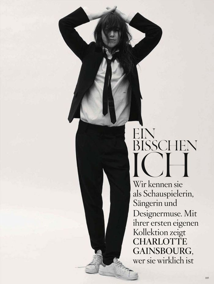 Charlotte Gainsbourg photographiée par Stefan Heinrichs pour Vogue Allemagne du mois d'août 2014, portant du Anthony Vaccarello et sa collection capsule pour Current Elliot