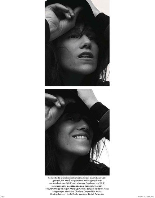 Charlotte Gainsbourg photographiée par Stefan Heinrichs pour Vogue Allemagne du mois d'août 2014